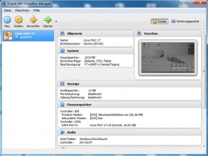 Oracle Virtual Box Manager
