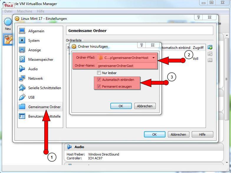 Oracle Virtual Box Manager gemeinsame Ordner erstellen