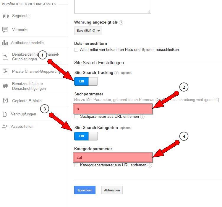 Google Analytics Site Search-Tracking für die Suchfunktion einer Webseite aktivieren