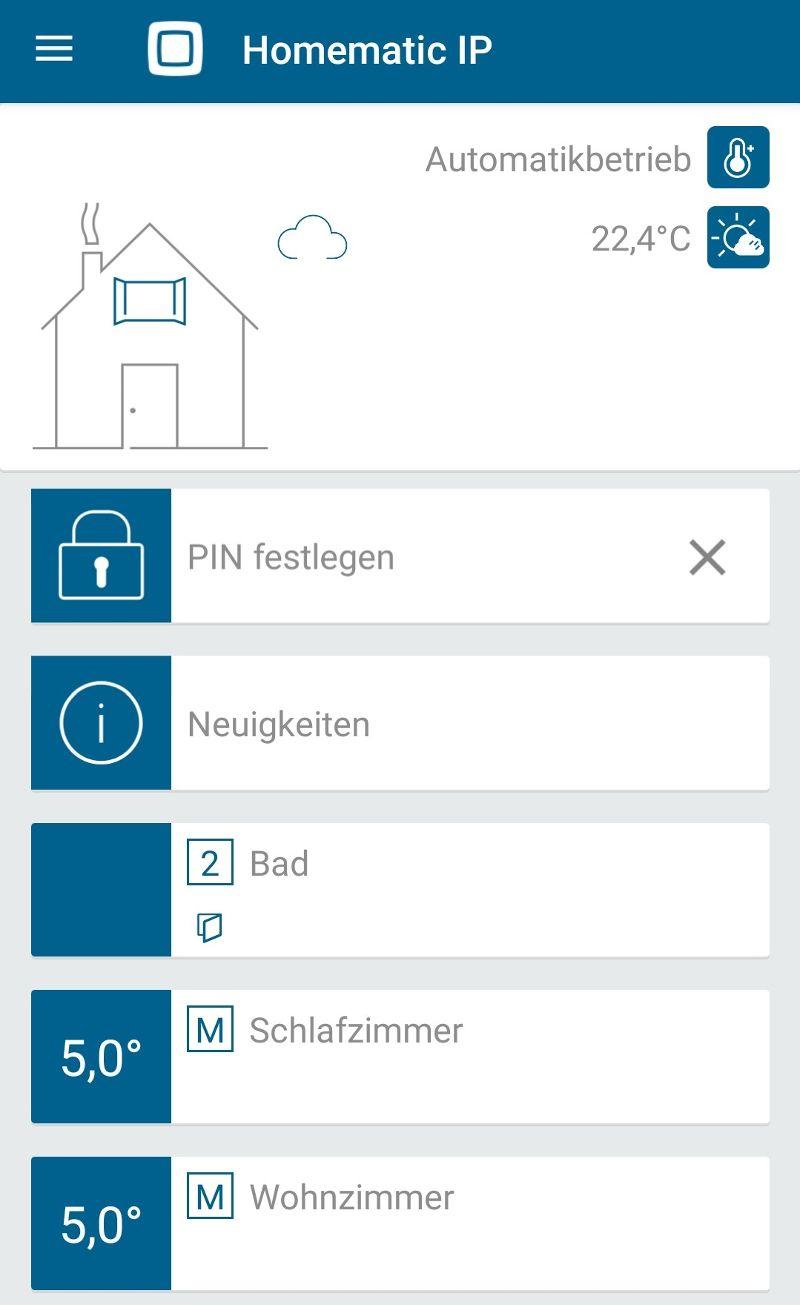 Das Dashboard der Homematic IP-App